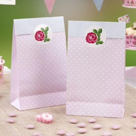 Vintage Rose Party Bags - pack of 5